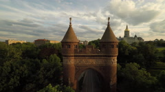 Hartford CT Aerial, Soldiers and Sailors Memorial Arch Stock Footage