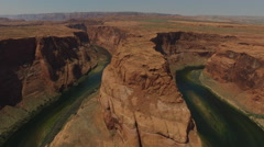 Aerial view of Grand Canyon Horseshoe Bend and Colorado River Arizona, United Stock Footage