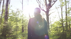 Girl breathing clean and fresh air Stock Footage