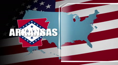 Arkansas Countered Flag and Information Panel Stock Footage