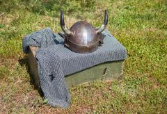 Medieval knight armor with helmet and chain mail Stock Photos