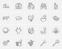 Agriculture sketch icon set Stock Illustration