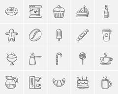 Junk food sketch icon set Stock Illustration