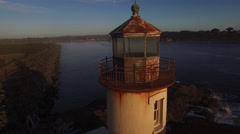 Aerial view of Coquille River Lighthouse in Bandon, Oregon Stock Footage