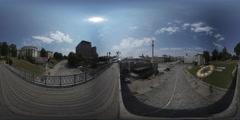 360Vr Video. Kiev. Independence Square.footbridge Stock Footage