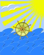 Marine waves with steering-wheel mews and sun beams Stock Illustration