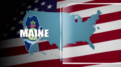 Maine Countered Flag and Information Panel Stock Footage
