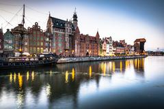 Gdansk,Poland-September 19,2015: old town and famous crane, Polish Zuraw. Vie Stock Photos