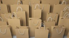 Rows of different size shopping bags. 3D rendering Stock Illustration