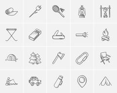 Travel and holiday sketch icon set Stock Illustration