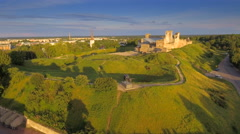 Aerial shot of the Rakvere castle in a hill Stock Footage