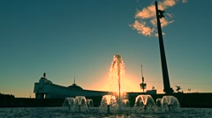 Moscow Victory park fountains at sunset. Super slow motion wide shot Stock Footage