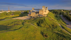 Closer look of the exterior aerial view of the castle Stock Footage