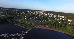 Cinema 4k aerial view of the city of Lohja, in Uusimaa, Finland Stock Footage