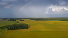 The pretty rainbow from a cereal field Stock Footage