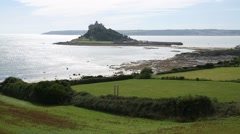 St Michaels Mount - castle on a tiny Island in England Stock Footage