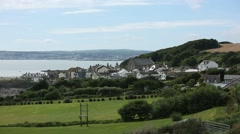 English Countryside by the sea in Cornwall Stock Footage