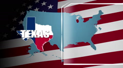 Texas Countered Flag and Information Panel Stock Footage