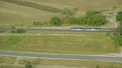Aerial view of American freight or transport train Stock Footage