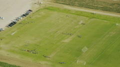Helicopter Aerial view of California public football Stock Footage