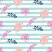Pink banana palm leaves striped blue seamless vector pattern Stock Illustration