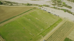 Aerial view of American soccer game. Stock Footage