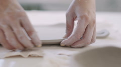 Workshop of craftsman pottery, clay plate Stock Footage