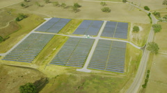 Aerial view of solar energy panels Stock Footage