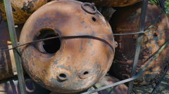 Closer look of the rusty metal naval mines Stock Footage