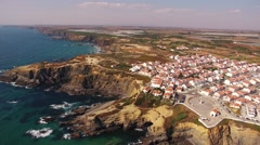 Panoramic view of Zambujeira de Mar aerial view, Portugal Stock Footage