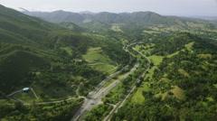 Aerial view of California road highway, freeway. Los Angeles Arkistovideo