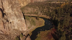 Aerial view of Crooked River at Smith Rock, Oregon Stock Footage