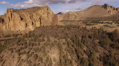 Aerial view of Smith Rock, Oregon Stock Footage