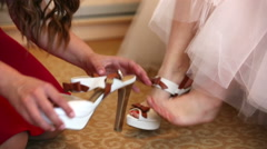 Girl wears shoes to the bride Stock Footage