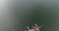 Aerial video of pirate ship, camera follows object Stock Footage