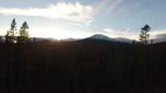 Aerial view of Oregon forest and Mt. Bachelor at sunset Stock Footage