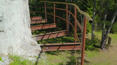 The old rusty stairs of the ruins Stock Footage