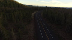 Aerial view of highway and forest in Oregon Stock Footage