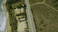 Aerial view of California road highway, freeway Stock Footage