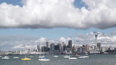 Auckland city and harbour on cloudy day Stock Footage