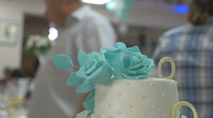 Video beautiful wedding cake is the restaurant Stock Footage