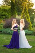 Bride and bridesmaid outside Stock Photos