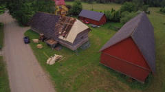 The aerial view of the house with shingles Stock Footage
