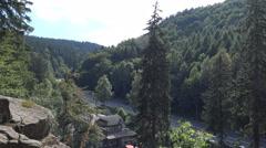 4k Sightseeing point tilt-down above Radau waterfall Harz mountain range Stock Footage