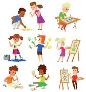 Artist kids children vector set Piirros