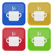 Set of four square icons - cooking pot with smoke Stock Illustration