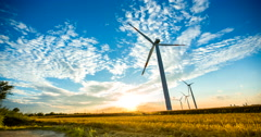 Clean Energy of Wind Turbines Day to Night Timelapse Stock Footage