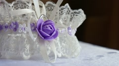 Decoration for bride white lace with violet butterfly video Stock Footage