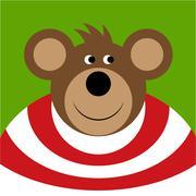 Drawing - colored smiling cartoon bear Stock Illustration
