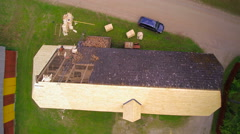 Removing of old shingles on the roof Stock Footage